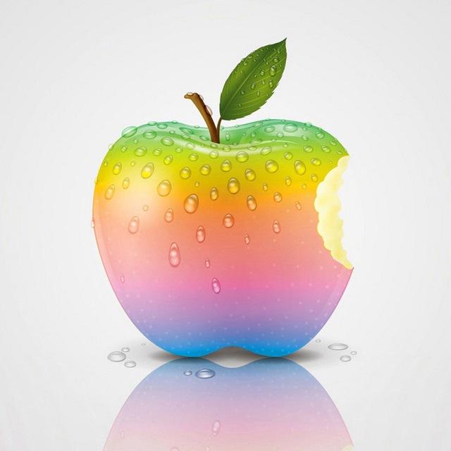 картинки радужного яблока разнообразных